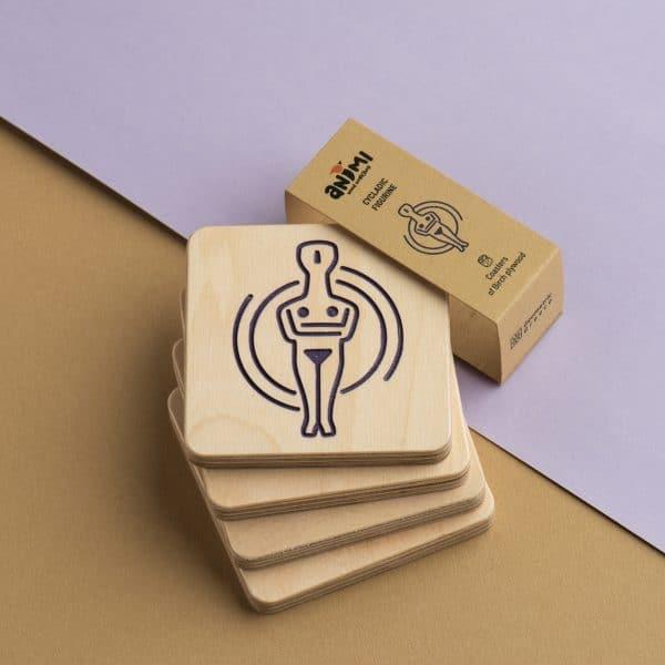 coasters cycladic figurine